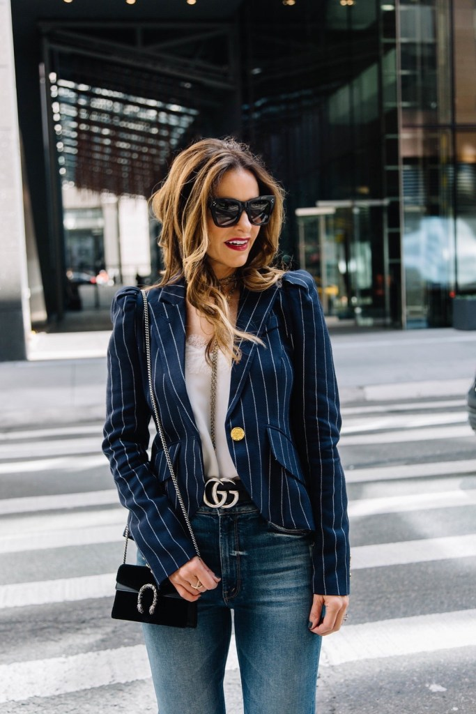 Smythe Pouf Sleeve Pinstriped Blazer// Cami NYC Racer Charmeuse Cami// Gucci Dionysus Velvet Mini Bag// Celine Cat-Eye Sunglasses// Harper Hallam Necklaces// LAGOS Caviar Crossover Ring//