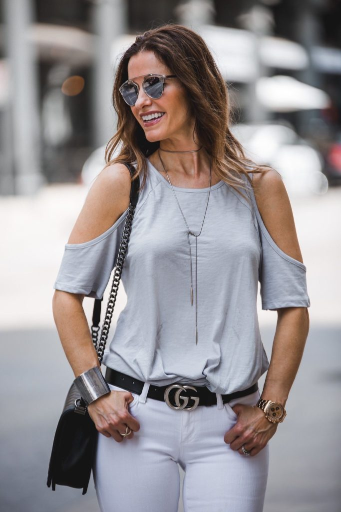 BP. Twist Front Cold Shoulder T-Shirt || AG The Stilt Jean || Chanel Boybag || Vintage Tiffany & Co. Lariat || Dior So Real Round Brow Bar Sunglasses || Gucci Belt With Double G Buckle