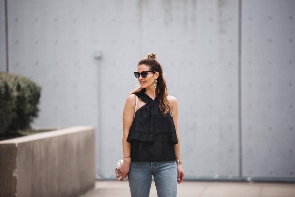 Ella Moss Ruffle V-Neck Top// GRLFRND Naomi Crop Jeans// Gucci Belt// Fendi Cat Eye Sunglasses// Nicola Bathie Designs Earrings// Coordinates Collection Bracelet//