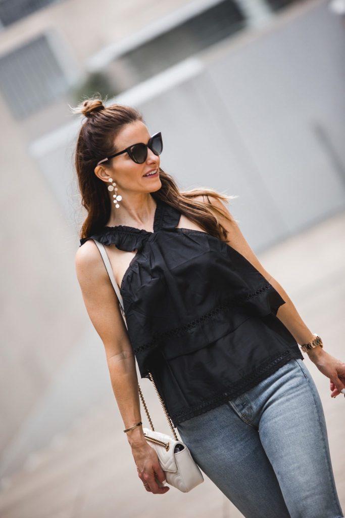 Ella Moss Ruffle V-Neck Top// GRLFRND Naomi High Rise Crop Jeans// Gucci Double G Belt// Fendi Sunglasses// Nicola Bathie Design Earrings//