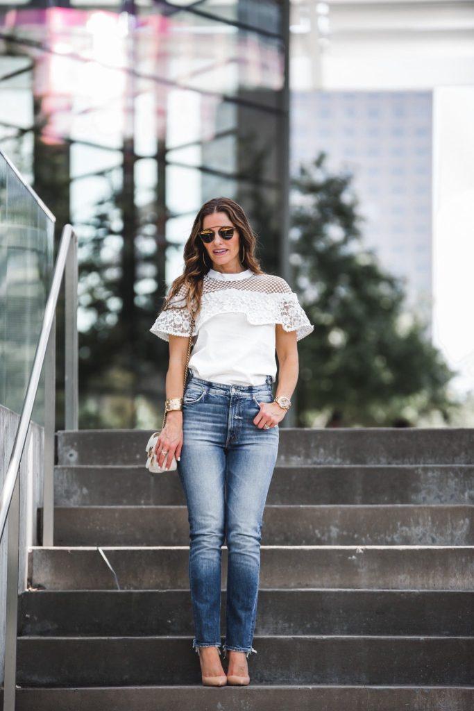 Mother Dazzler Shift Jeans || Self-Portrait Lace Mesh Poplin Top || Dior So Real Brow Bar Sunglasses || Gucci GG Marmont shoulder bag || Harper Hallam Bracelet || LAGOS Enso Caviar Crossover Ring || Christian Louboutin Iriza Half-d' Orsay Nude Pump