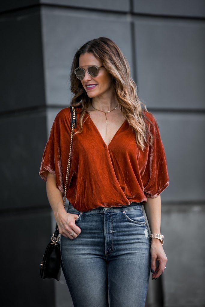 orange velvet bodysuit