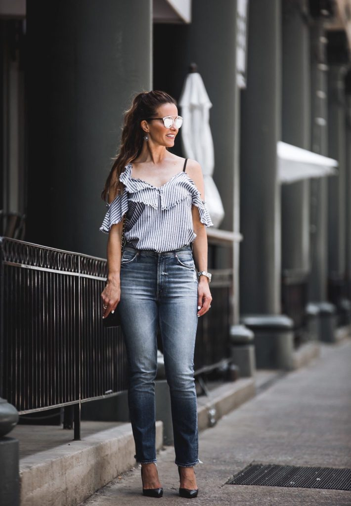 Sam & Lavi Striped Ruffled Blouse// Mother Dazzler Shift Jeans// Dior So Real Brow Bar Sunglasses// LAGOS Enso Crossover Ring// Harper Hallam Earring// Christian Louboutin Black Pumps//