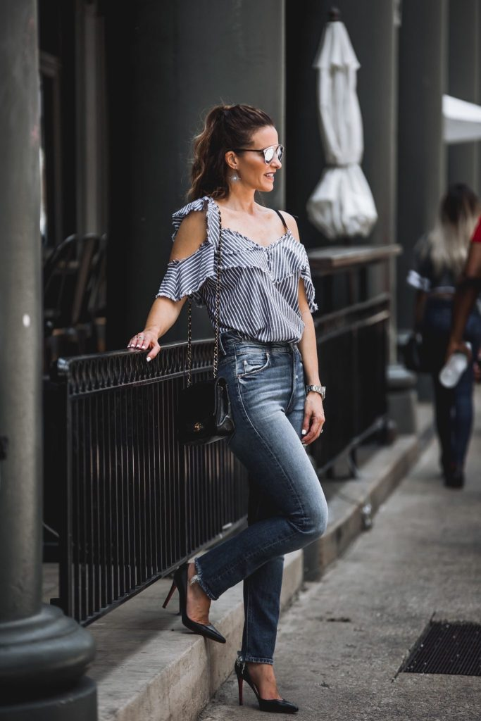 Sam & Lavi Bella Ruffled Top// Mother Dazzler Jeans// Dior Round Brow Bar Sunglasses// Chanel Boybag// Harper Hallam Jewelry// Christian Louboutin Black Pumps//