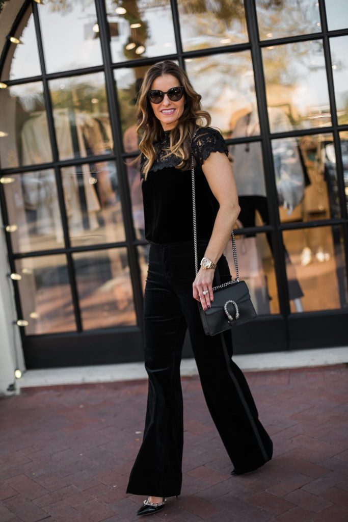 Rebecca Taylor velvet & lace blouse