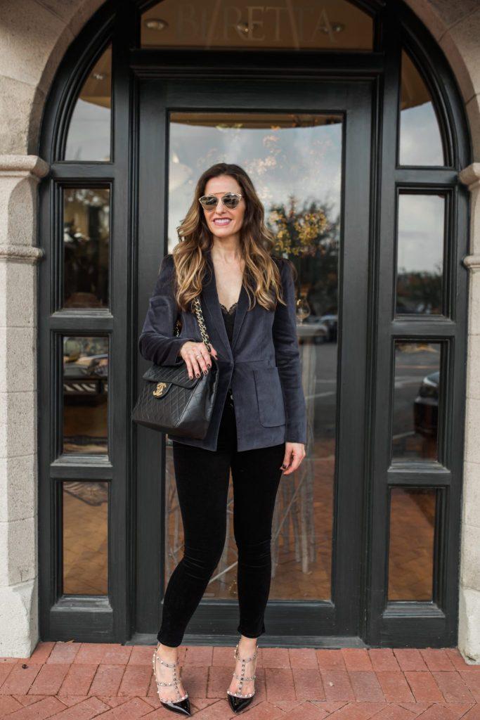 Rebecca Taylor Grey Velvet Blazer | Street Style Squad