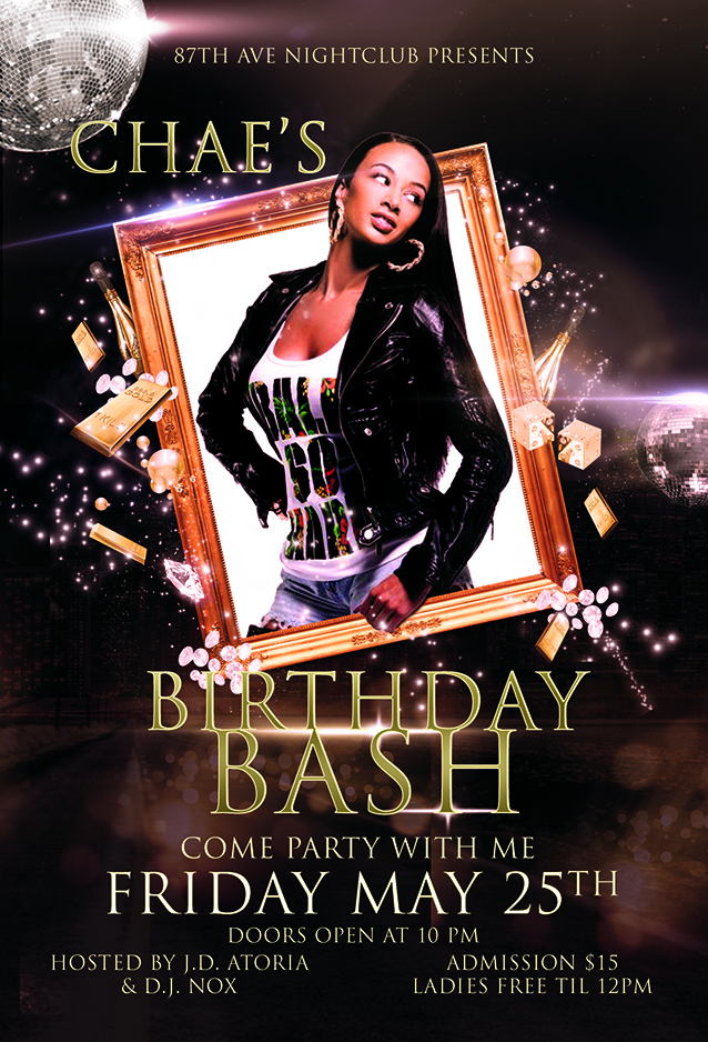 chae s birthday bash flyer template streetz myestro beats