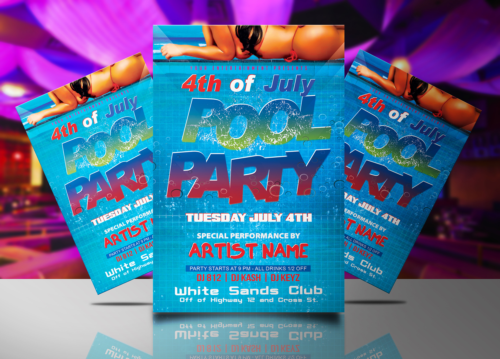 4th of July Pool Party Flyer Template | Streetz Myestro Beats