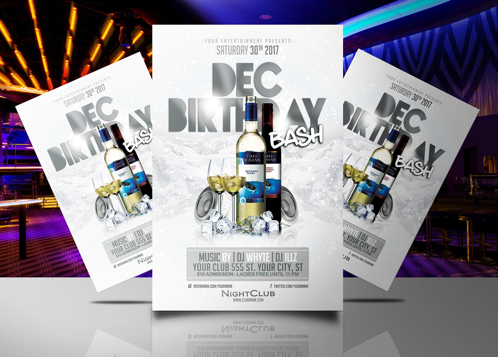 december birthday bash flyer template streetz myestro beats