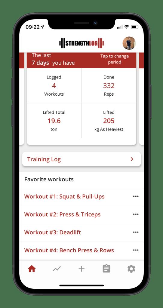Workout log app