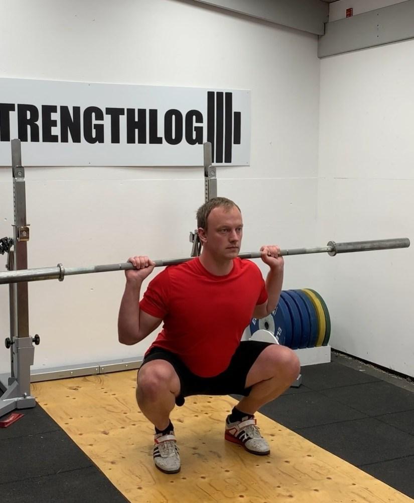 Olympic style high bar squat