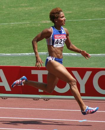 Chrisine Arron female sprinter - French 100 Meter runner during her first round heat World Athletics Championships 2007 in Osaka