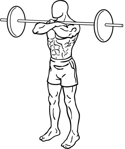 Front squat with crossover or cossack grip