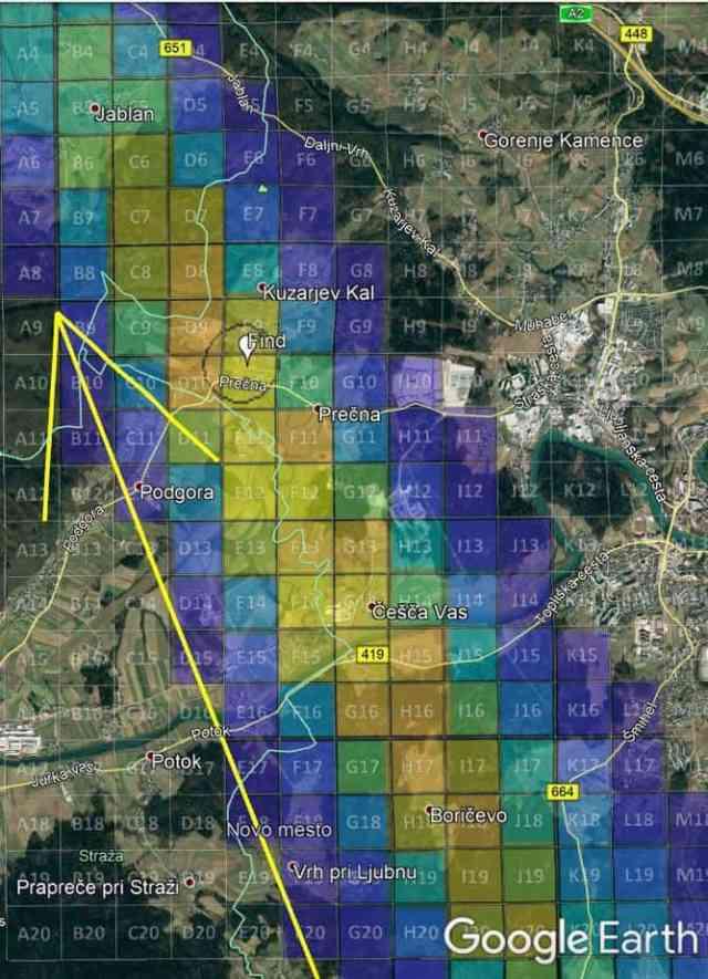 Novo mesto search grid