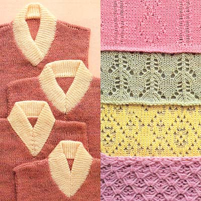 V-Ausschnittvarianten, diverse Lochmuster - v neck variations, different lace patterns
