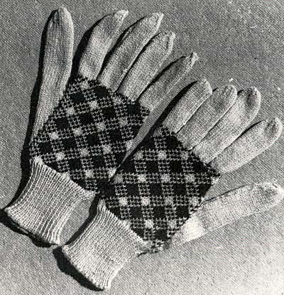 Handschuhe mit farbigem Muster, gloves with colour pattern
