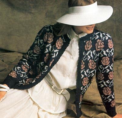 Jacke mit Rosenmuster, cardigan with rose pattern