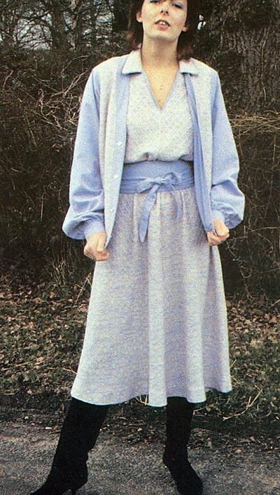Kleid mit Jacke und Bindegürtel, dress with jacket and tie belt