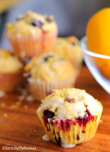 Lemon Blueberry Muffins with Zesty Lemon Glaze via StrictlyDelicious