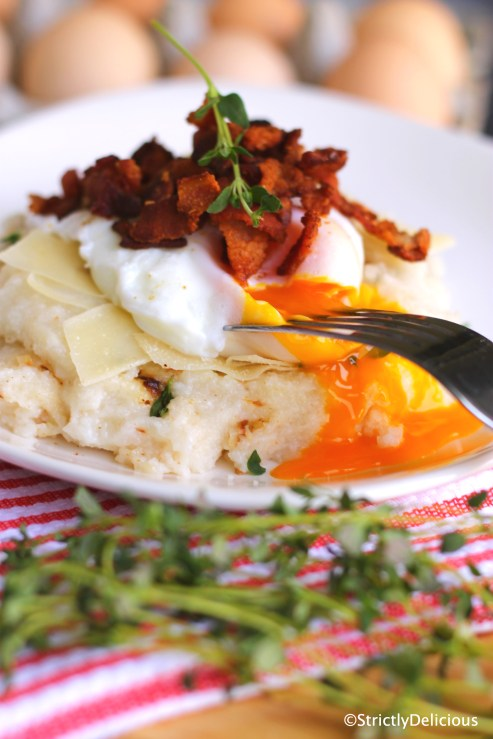 Poached Egg over Herb Parm Polenta with Crispy Bacon Crumbles