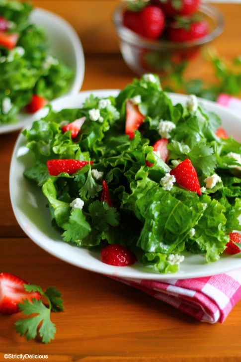 Simple Strawberry, Cilantro, & Bleu Cheese Salad via StrictlyDelicious
