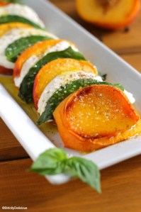 Roasted Peach Caprese Salad via StrictlyDelicious