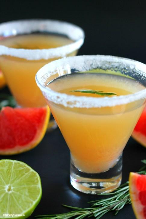 Rosemary Grapefruit Margaritas via StrictlyDelicious