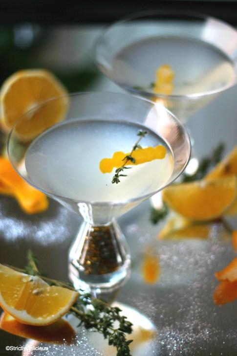 Sparkling Lemon Thyme Cocktail via StrictlyDelicious