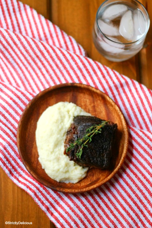 Mustard Braised Short Ribs with Mashed Cauliflower | StrictlyDelicious
