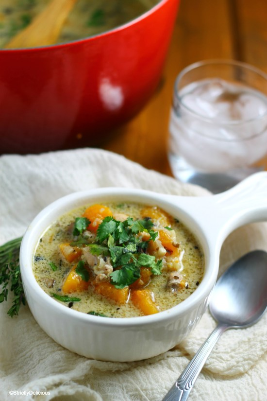 Paleo Creamy Chicken and Cauliflower Rice Soup | StrictlyDelicious.com