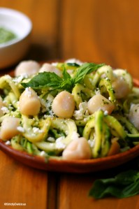 Pesto Zucchini Noodles with Scallops | StrictlyDelicious.com