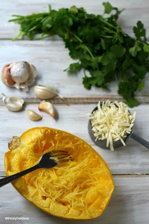 Simple Cheesy Herb Spaghetti Squash | StrictlyDelicious.com
