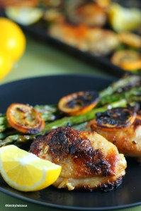 One Sheet Charred Meyer Lemon Roasted Chicken and Asparagus | StrictlyDelicious.com