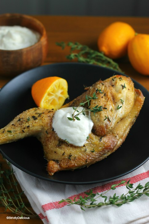 Thyme Roasted Chicken with Lemony Ricotta | StrictlyDelicious.com