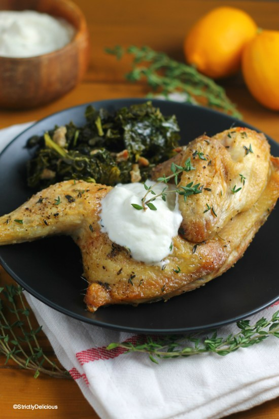 Thyme Roasted Chicken with Lemony Ricotta   StrictlyDelicious.com