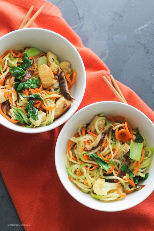 One Pot Chicken Zoodle Stir Fry with Cauliflower, Carrot Noodles, and Shiitake Mushrooms | StrictlyDelicious.com