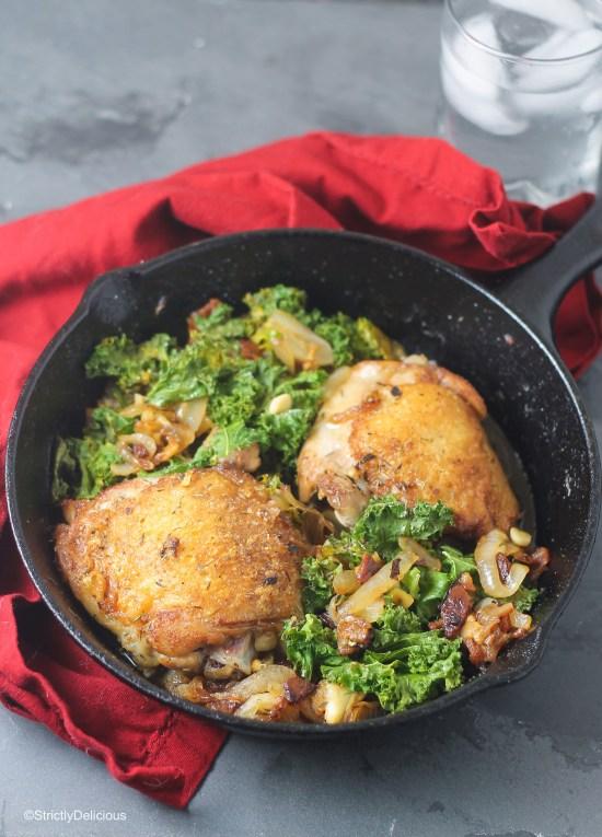 Immune-Boosting Chicken, Bacon, Kale Skillet | StrictlyDelicious.com