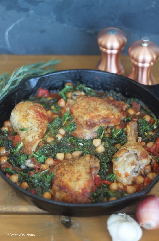 Tomato Braised Chicken with Chickpeas & Kale | StrictlyDelicious.com