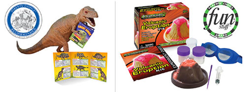 WowToyz images of Great Dinos and Jr. Science Explorer packaging
