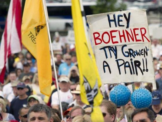 Boehner - crowd says grow a pair