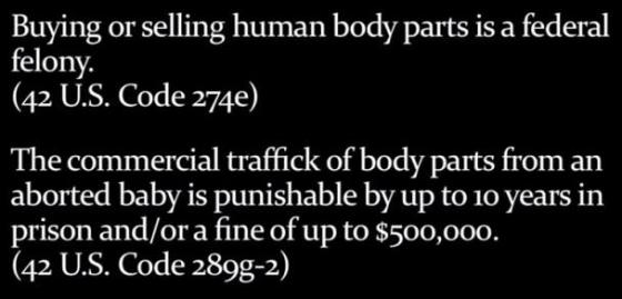 Abortion - selling body parts