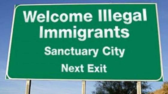 Illegal immigration highway sign