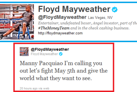 Mayweather Tweet to Pacquiao