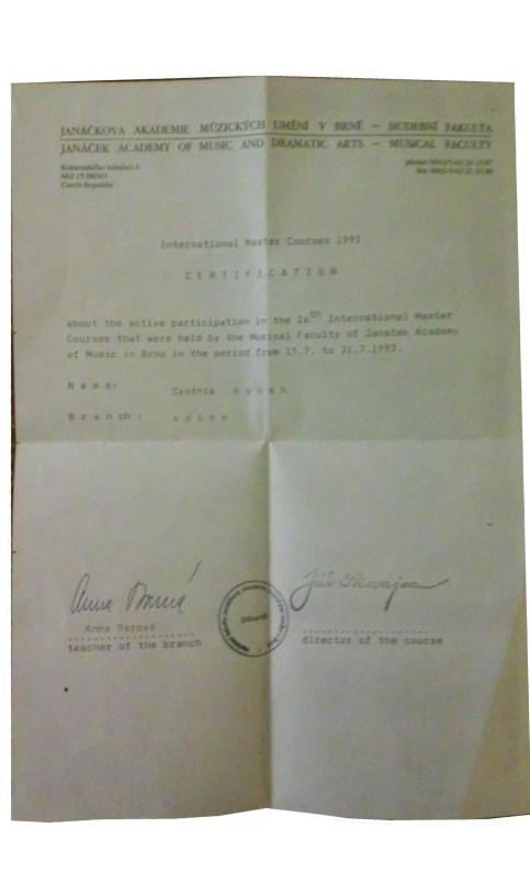 My certificate of completion of International Master Classes from Janáčková Akademie Múzických Umění v Brně