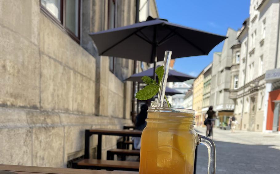 A refreshing mango lemonade outside Burgerheart on June 3, 2021 in Regensburg, Germany.