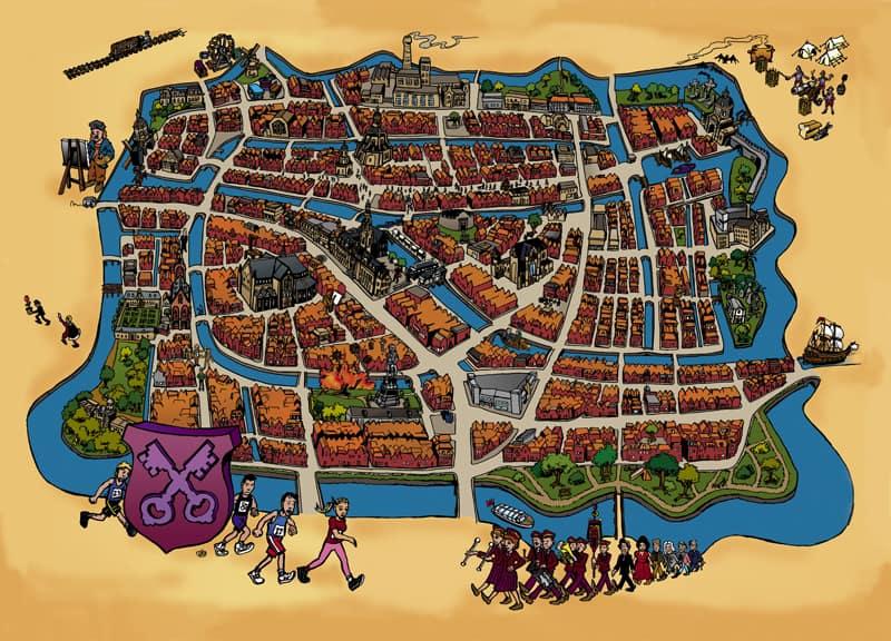 geïllustreerde plattegrond Leiden