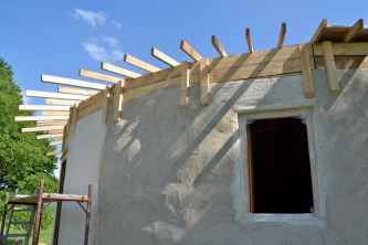 Straw Bale Roundhouse Limeplaster