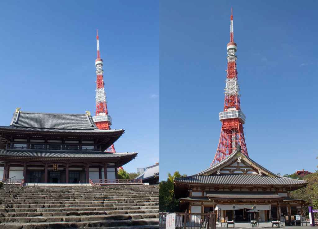 Tokyo tower with temple