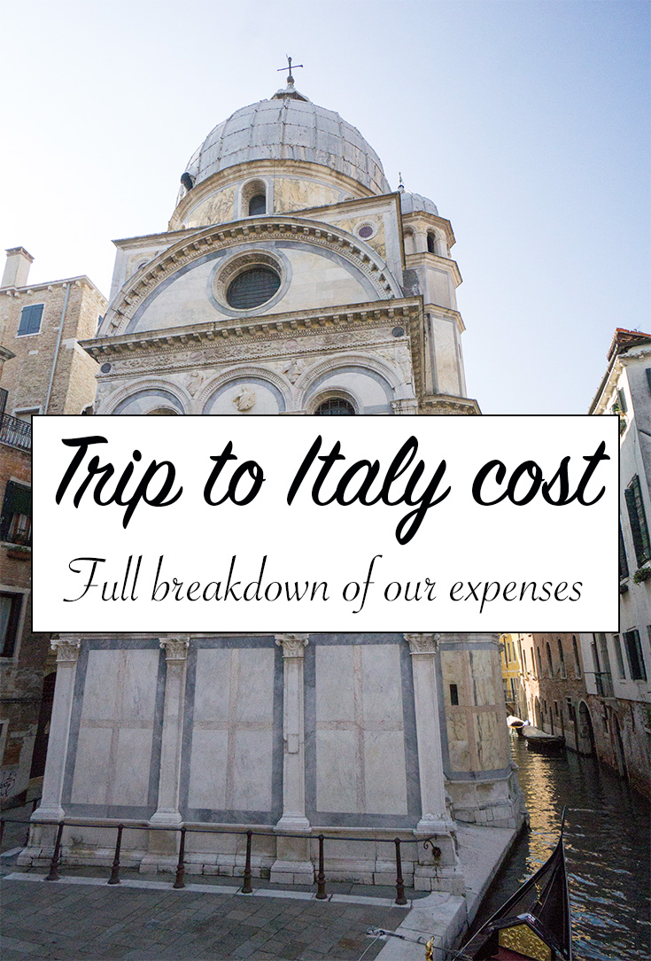 Trip to Italy cost breakdown