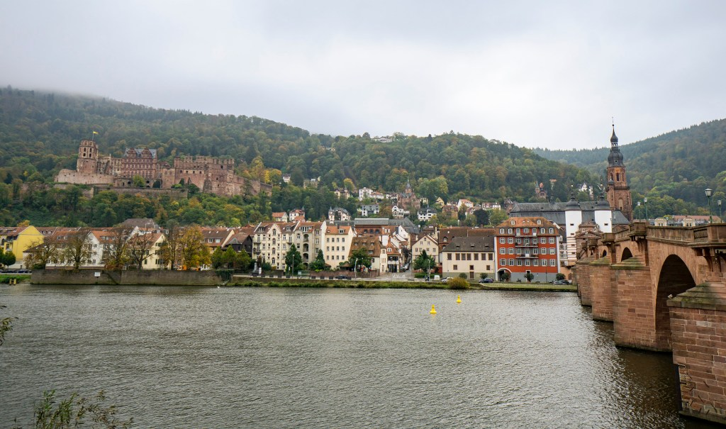 Looking over to Heidelberg city and castle from the Old Bridge